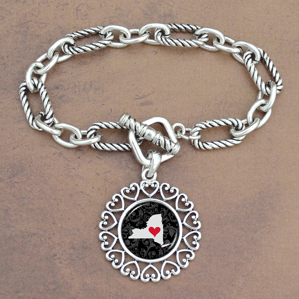 Twisted Chain Link Toggle Clasp Heartland Bracelet with New York State Charm