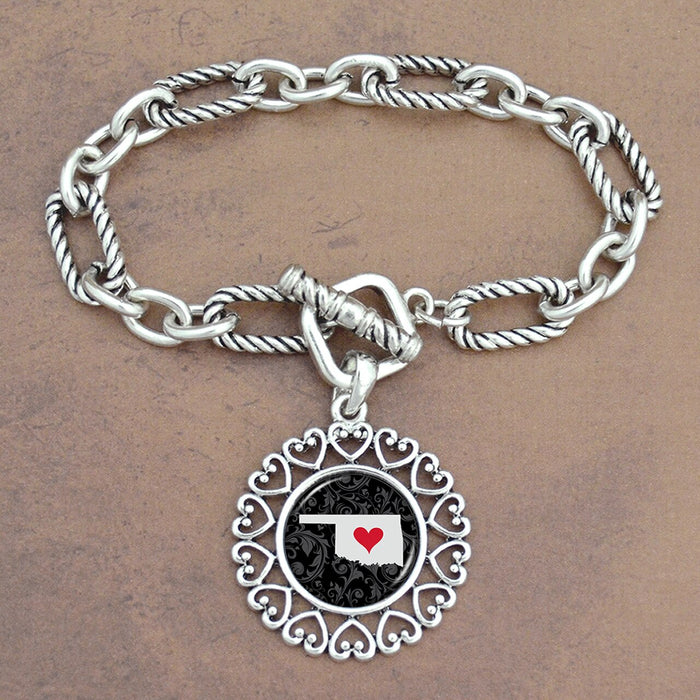 Twisted Chain Link Toggle Clasp Heartland Bracelet with Oklahoma State Charm