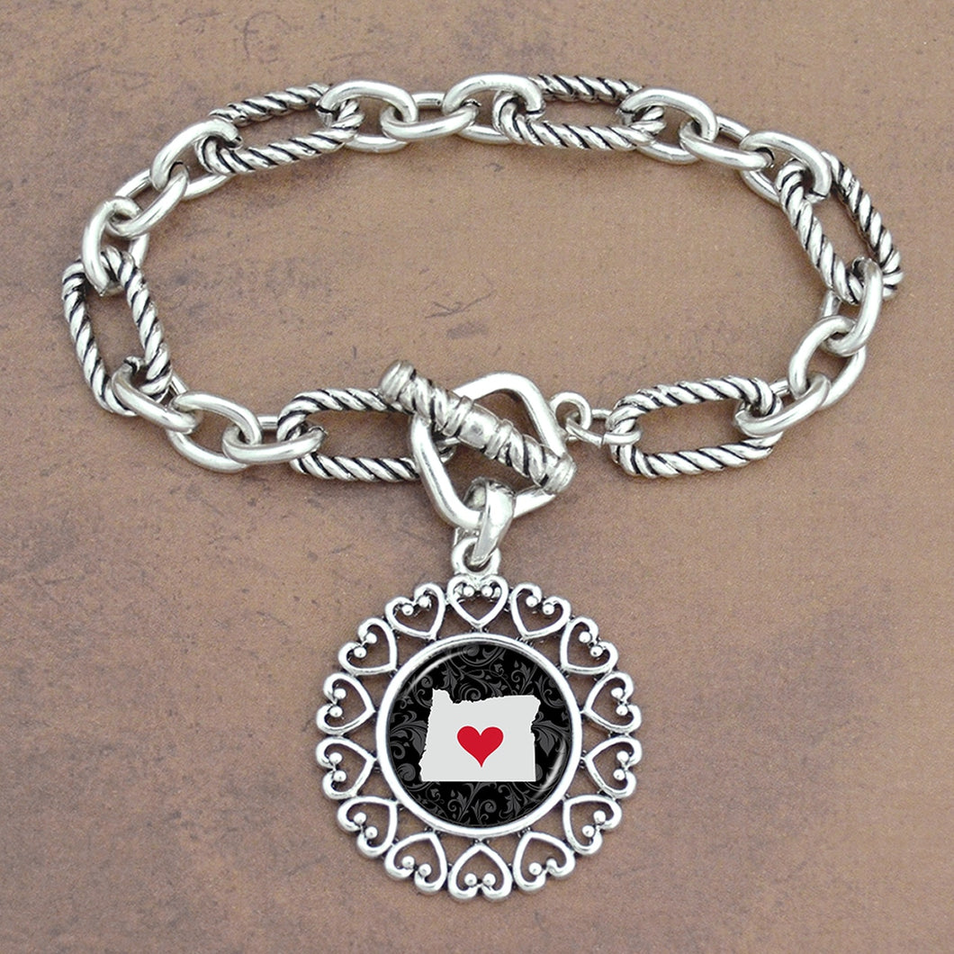 Twisted Chain Link Toggle Clasp Heartland Bracelet with Oregon State Charm