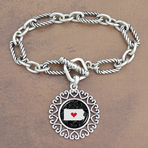 Twisted Chain Link Toggle Clasp Heartland Bracelet with Pennsylvania State Charm