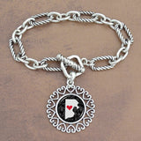 Twisted Chain Link Toggle Clasp Heartland Bracelet with Rhode Island State Charm