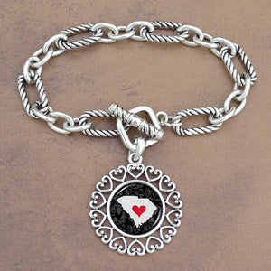 Twisted Chain Link Toggle Clasp Heartland Bracelet with South Carolina State Charm