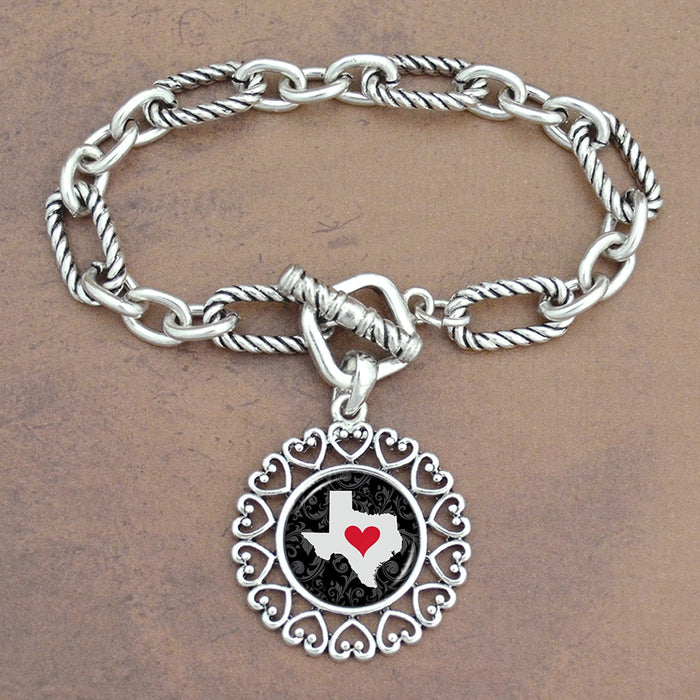 Twisted Chain Link Toggle Clasp Heartland Bracelet with Texas State Charm