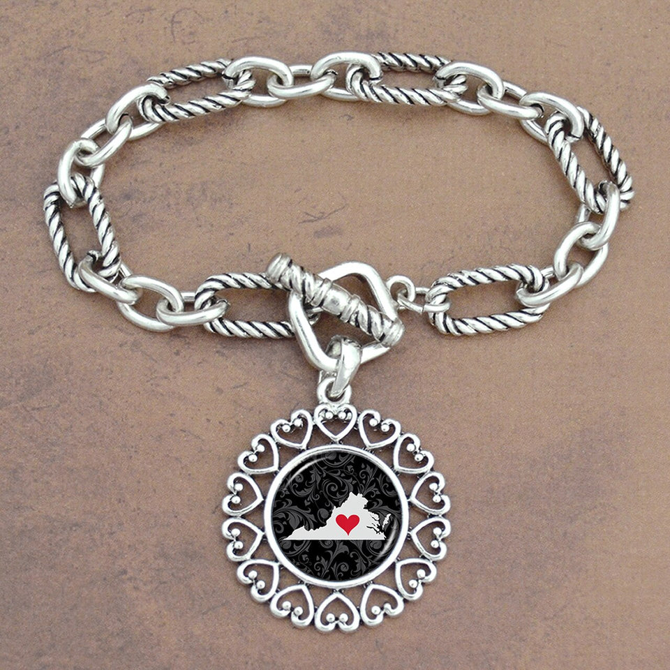 Twisted Chain Link Toggle Clasp Heartland Bracelet with Virginia State Charm