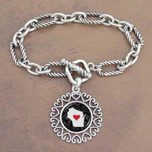 Twisted Chain Link Toggle Clasp Heartland Bracelet with Wisconsin State Charm