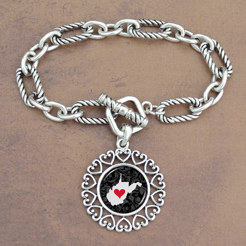 Twisted Chain Link Toggle Clasp Heartland Bracelet with West Virginia State Charm