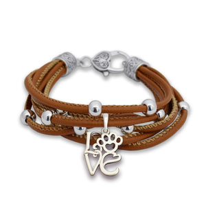 LOVE Paw Lindy Charm Brown Leather Bracelet