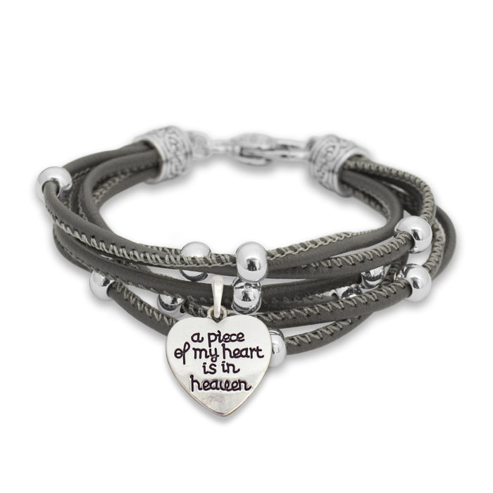 A Piece Of My Heart Is In Heaven Charm Leather Bracelet