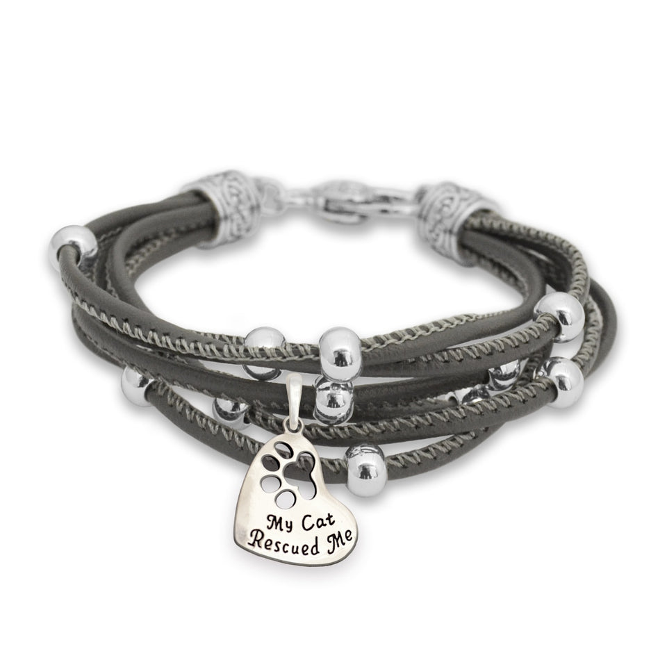 Pet Lover- My Cat Rescued Me Paw Gray Lindy Bracelet
