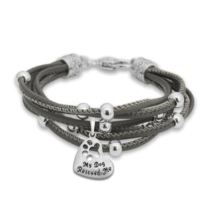 Pet Lover- My Dog Rescued Me Paw Gray Lindy Bracelet
