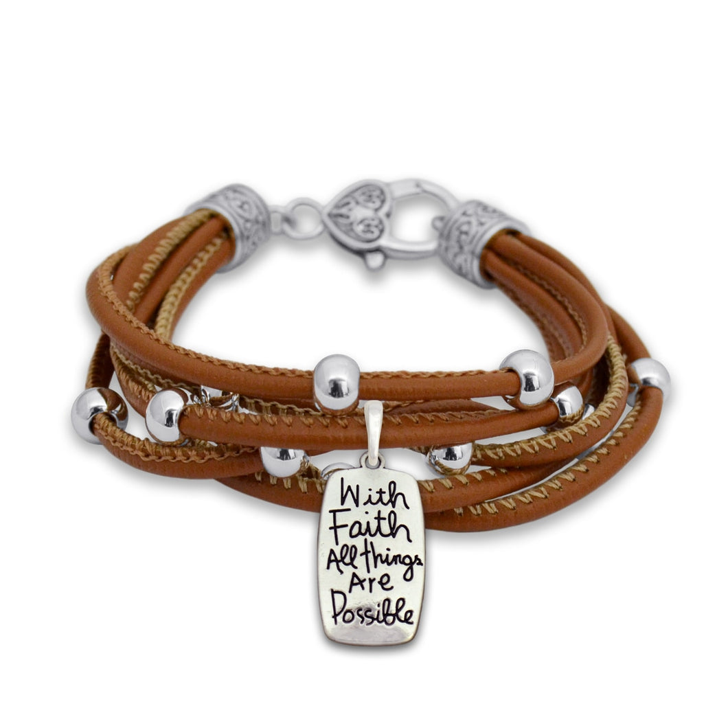 All Things Are Possible Charm Brown Leather Bracelet