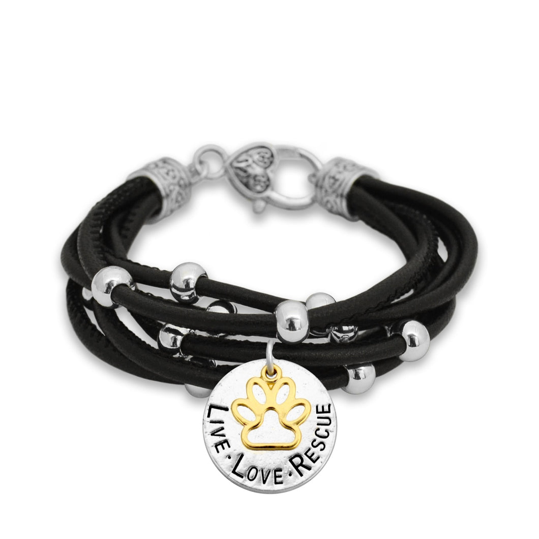 Live Love Rescue Paw Charm Black Leather Bracelet