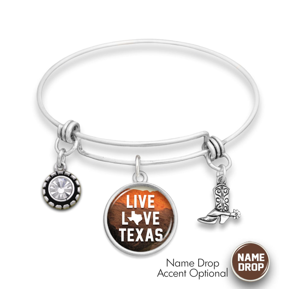 Texas State Pride ''Wire Bangle Live Love Texas'' Bracelet