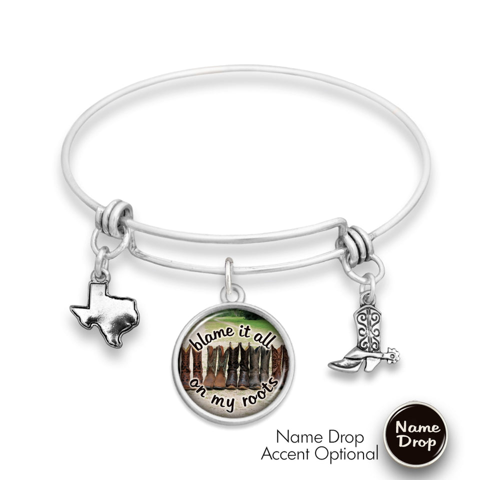 Texas State Pride ''Wire Bangle Blame It All On My Roots'' Bracelet