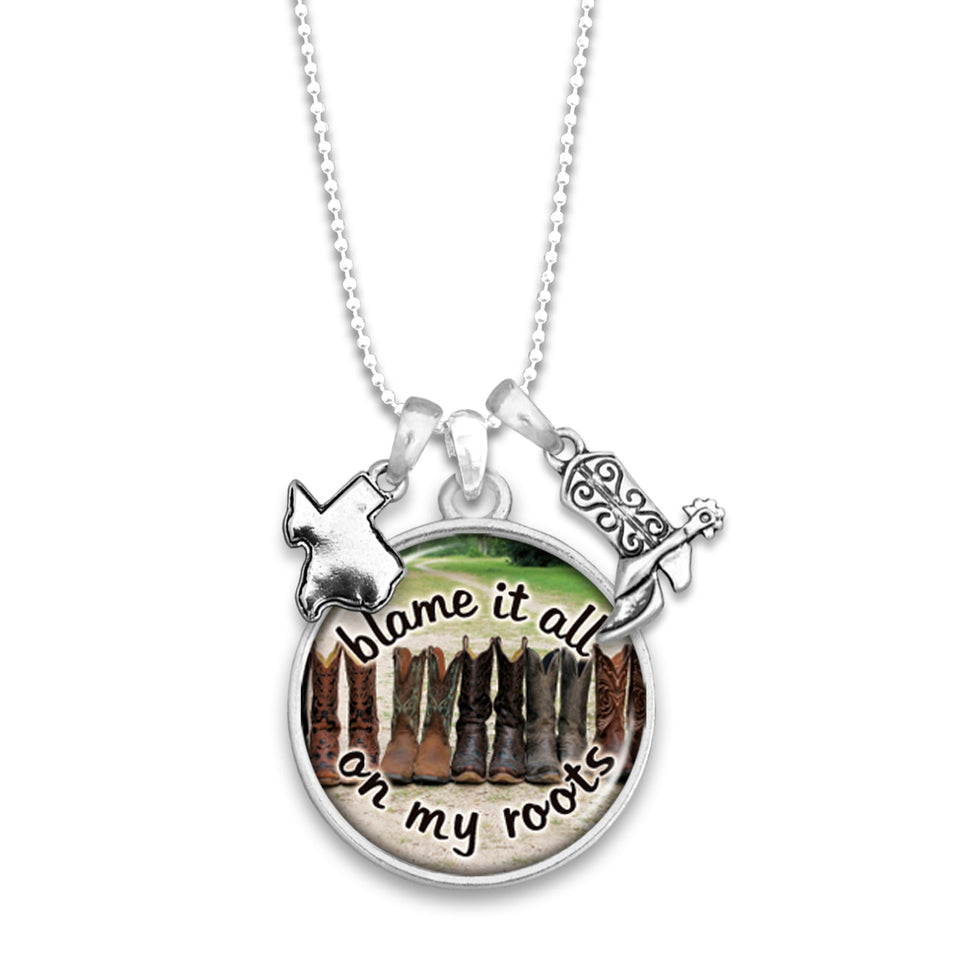Texas State Pride ''Blame It All On My Roots'' Necklace