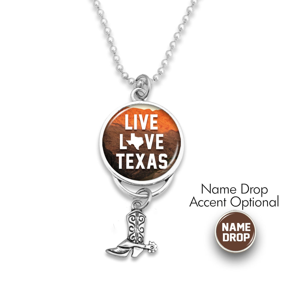 Texas State Pride ''Car Charm- Live Love Rearview Mirror Charm'' Necklace