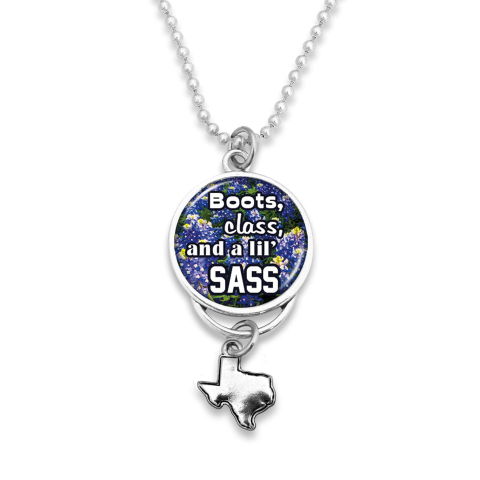 Texas State Pride ''Car Charm- Boots Class & A Lil Sass Rearview Mirror Charm'' Necklace