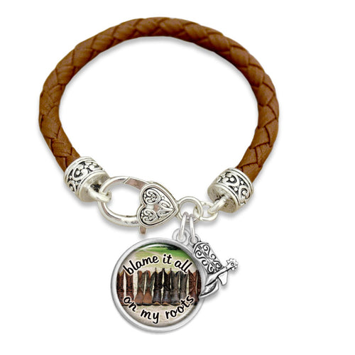 Texas State Pride ''Leather Blame It All On My Roots'' Bracelet