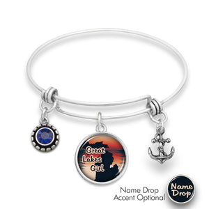Michigan State Pride ''Wire Bangle Great Lakes Girl'' Bracelet