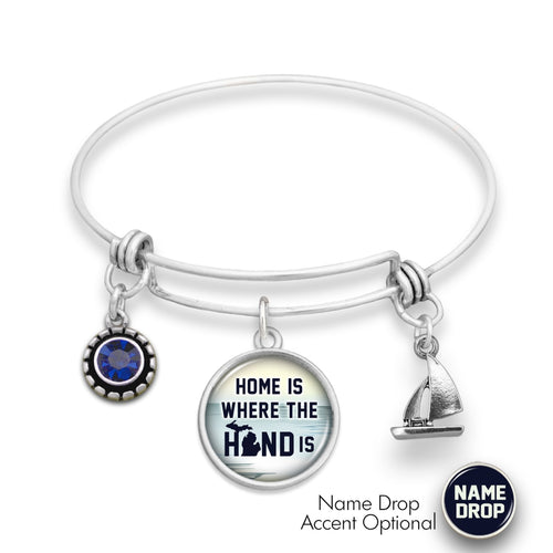 Michigan State Pride ''Wire Bangle Home Is Where The Hand Is'' Bracelet