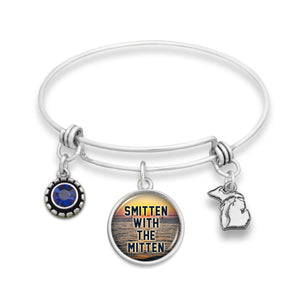 Michigan State Pride ''Wire Bangle Smitten With The Mitten'' Bracelet