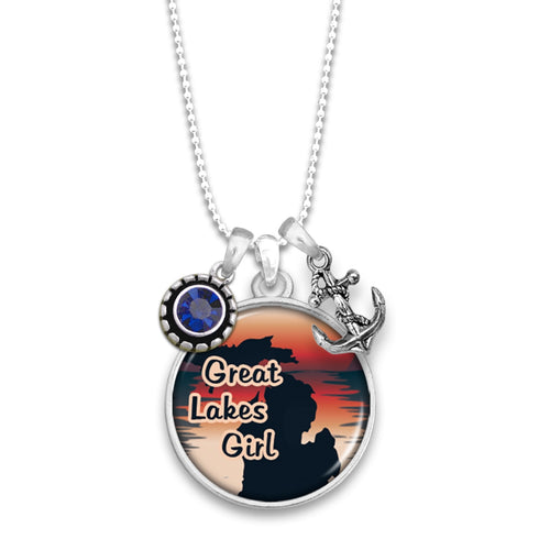 Michigan State Pride ''Great Lakes Girl'' Necklace