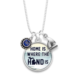 Michigan State Pride ''Home Is Where The Hand Is'' Necklace