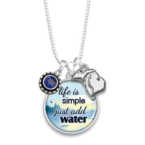 Michigan State Pride ''Just Add Lake Water'' Necklace