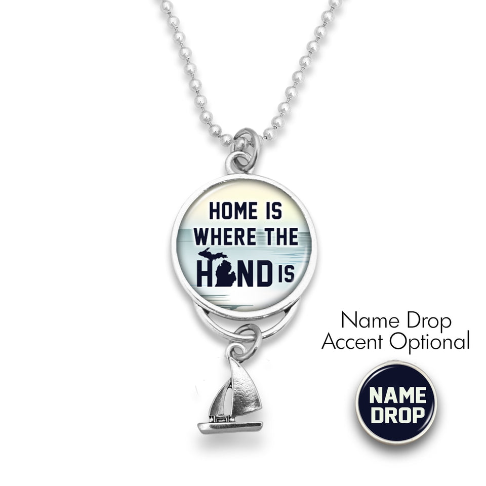 Michigan State Pride ''Car Charm- Home Is Where The Hand Is Rearview Mirror Charm'' Necklace