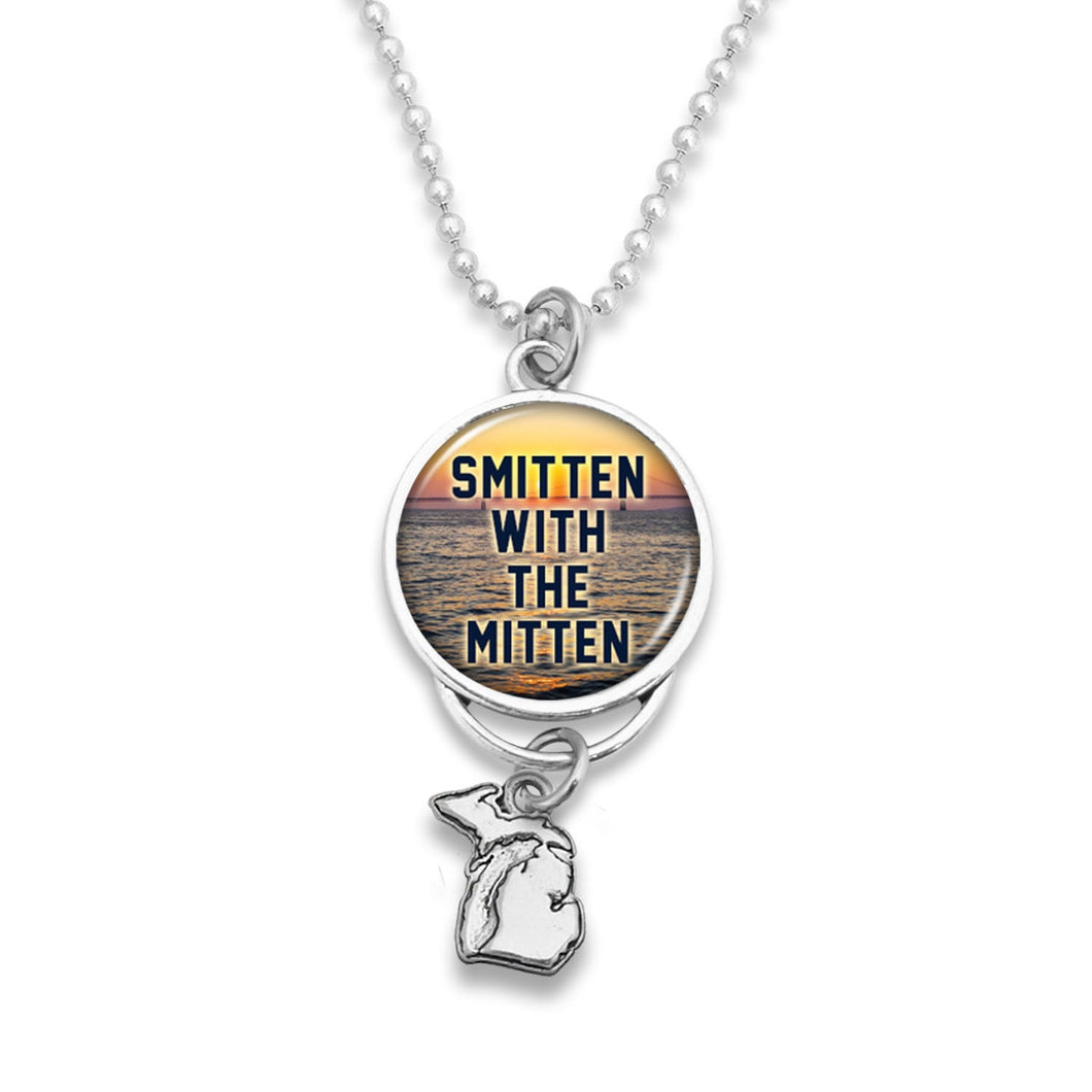 Michigan State Pride ''Car Charm- Smitten With The Mitten Rearview Mirror Charm'' Necklace