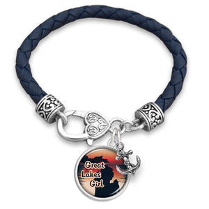 Michigan State Pride ''Leather Great Lakes Girl'' Bracelet