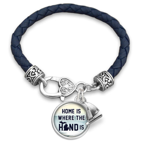 Michigan State Pride ''Leather Home Is Where The Hand Is'' Bracelet