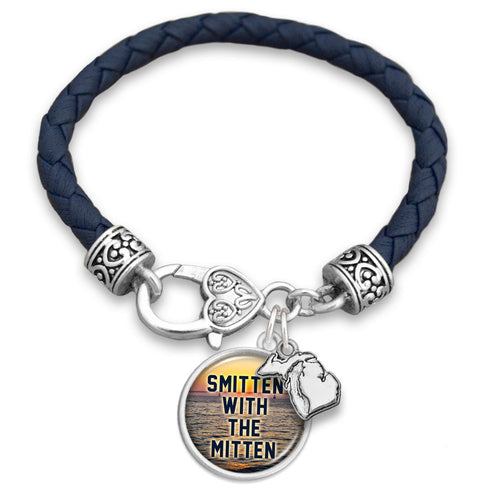 Michigan State Pride ''Leather Smitten With The Mitten'' Bracelet