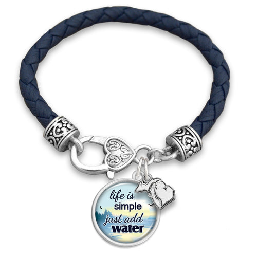 Michigan State Pride ''Leather Just Add Lake Water'' Bracelet