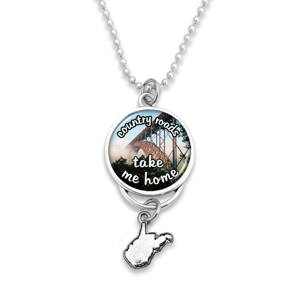 West Virginia State Pride ''Car Charm- Country Roads Rearview Mirror Charm'' Necklace