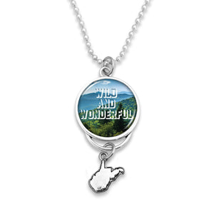 West Virginia State Pride ''Car Charm- Wild and Wonderful Rearview Mirror Charm'' Necklace