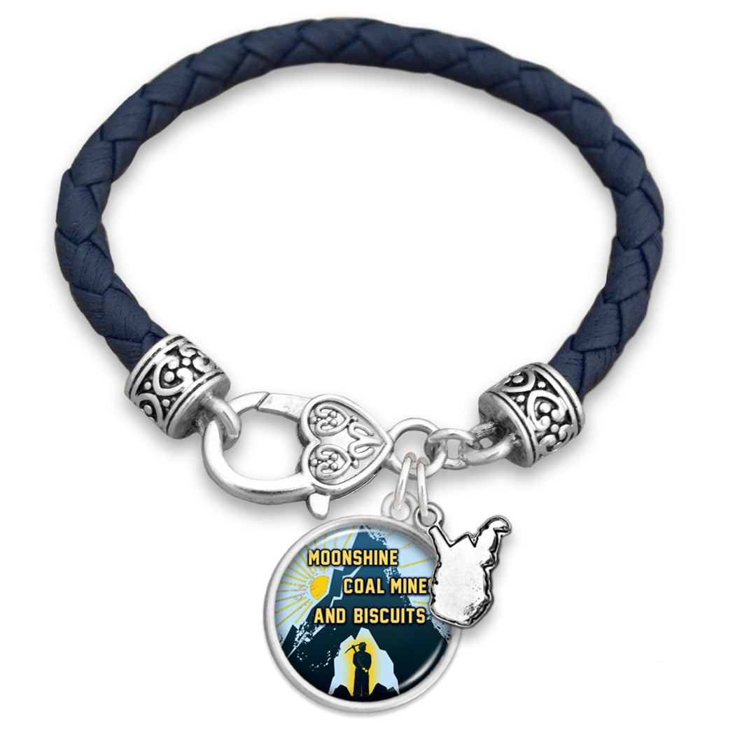 West Virginia State Pride ''Leather Moonshine Coal Mines'' Bracelet