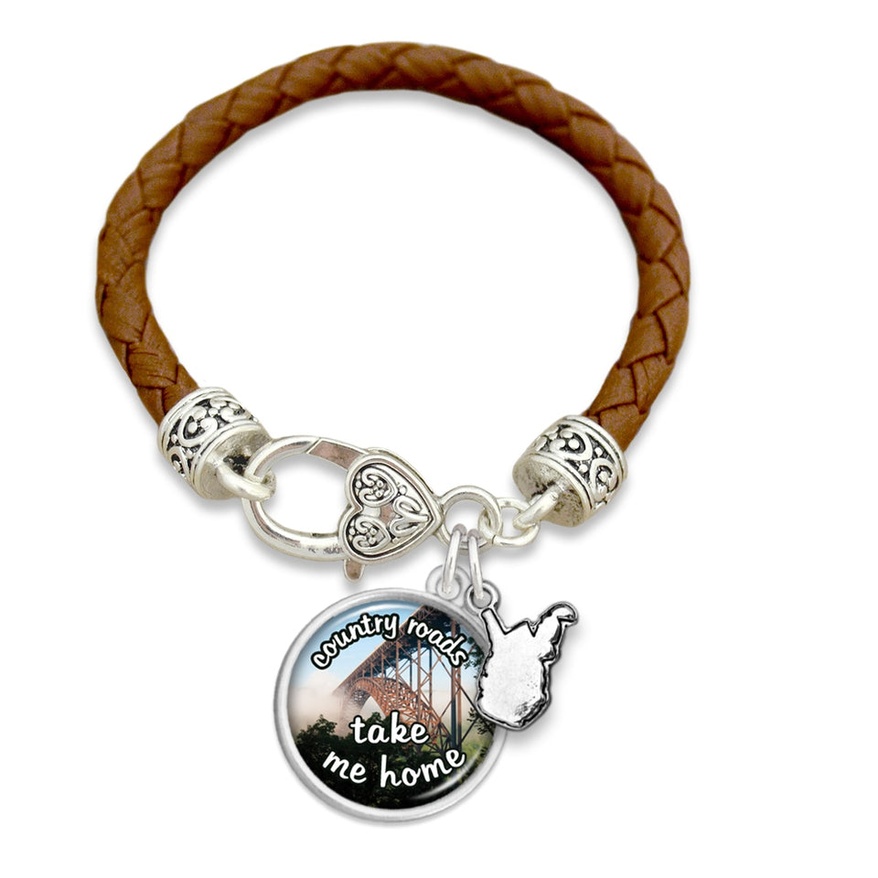 West Virginia State Pride ''Leather Country Roads'' Bracelet