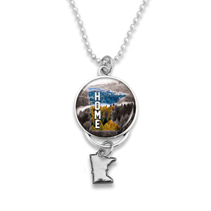 Minnesota State Pride ''Home Rearview Mirror Charm'' Necklace
