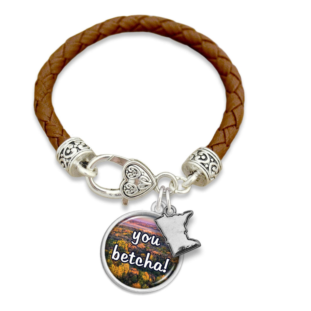Minnesota State Pride ''You Betcha! Leather'' Bracelet