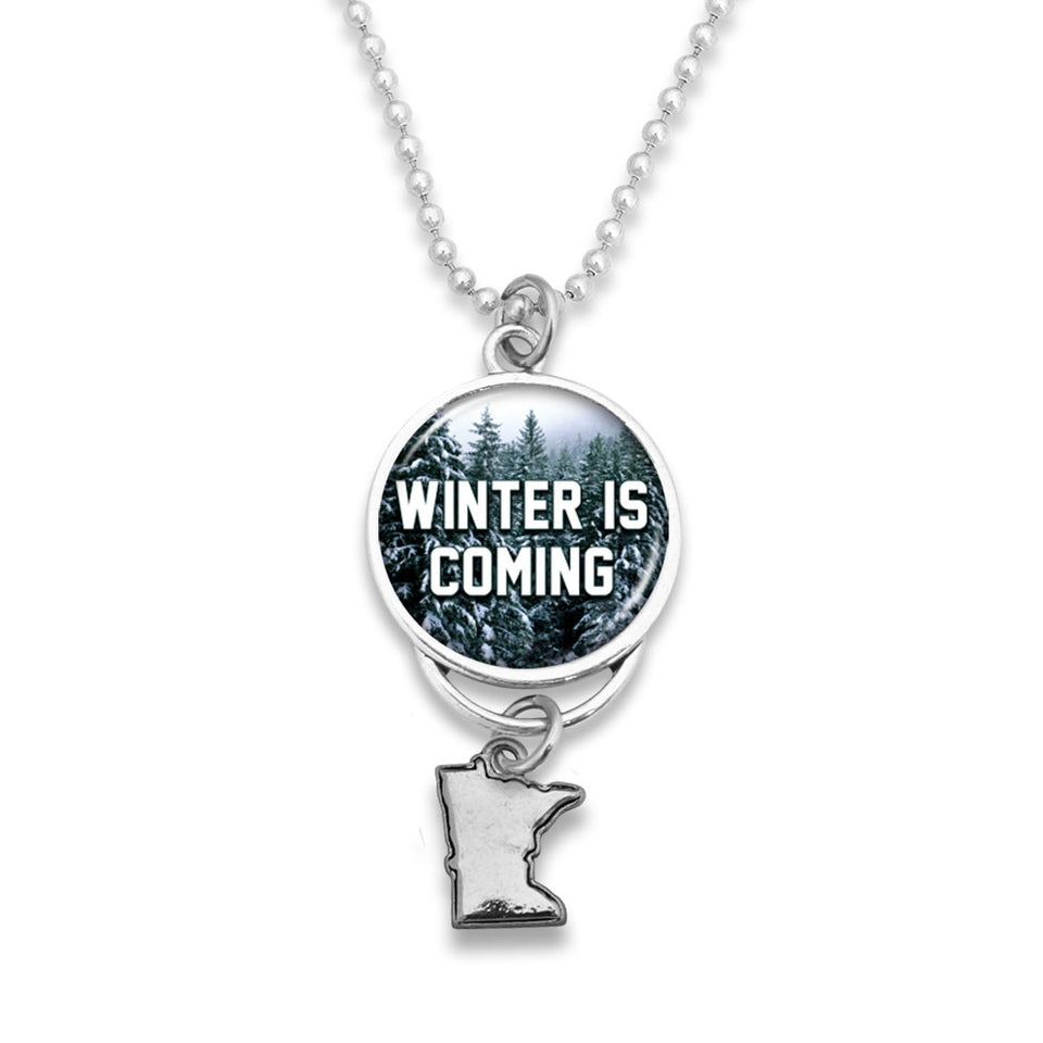 Minnesota State Pride ''Winter Is Coming Rearview Mirror Charm'' Necklace