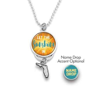 Florida State Pride ''Car Charm- Let The Sunshine In Rearview Mirror Charm'' Necklace