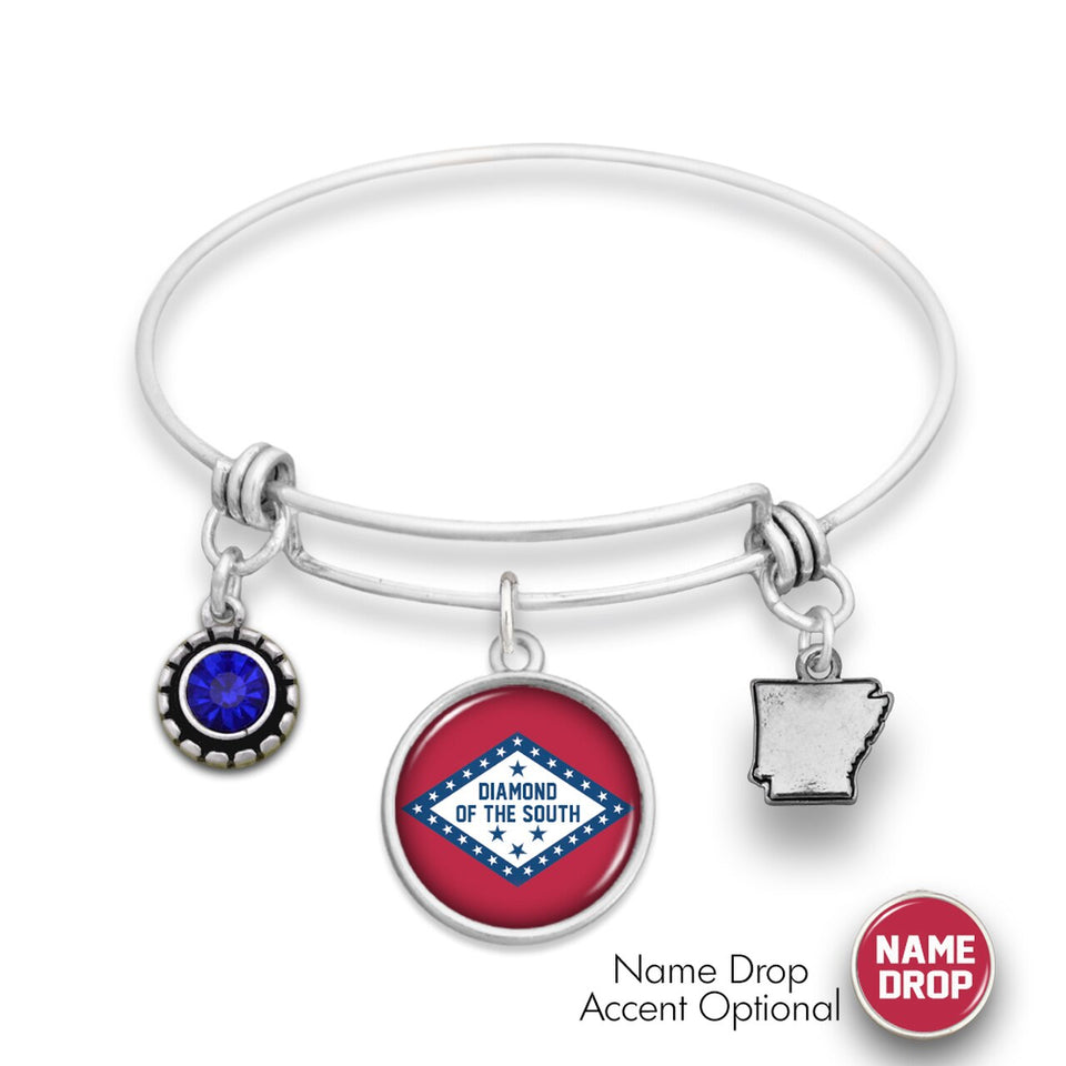 Arkansas State Pride ''Wire Bangle Diamond Of The South'' Bracelet