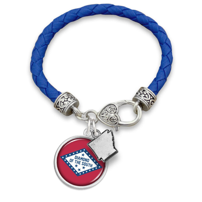 Arkansas State Pride ''Leather Diamond Of The South'' Bracelet