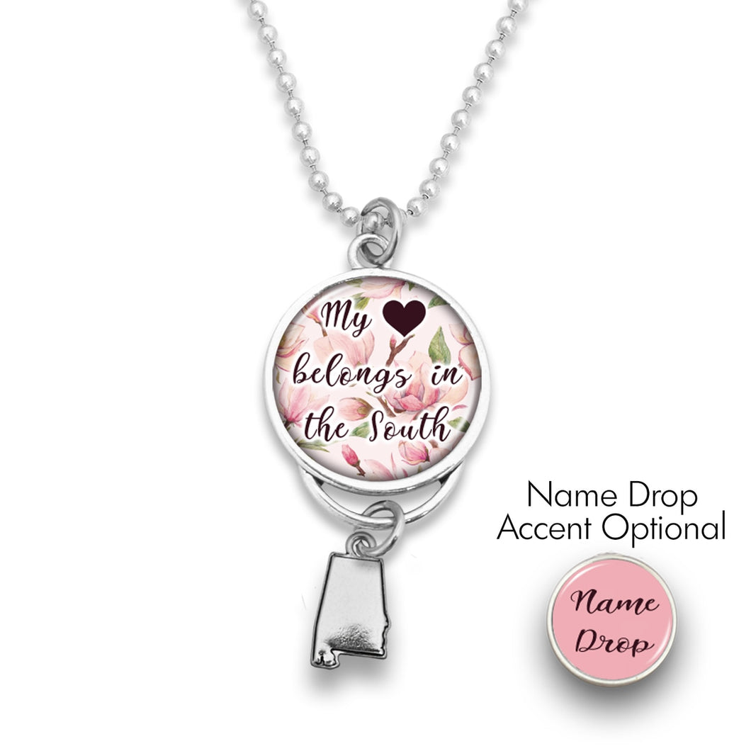 Alabama State Pride ''Car Charm- My Heart Belongs In The South Rearview Mirror Charm'' Necklace