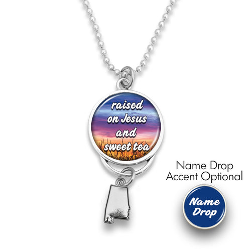 Alabama State Pride ''Car Charm- Jesus and Sweet Tea Rearview Mirror Charm'' Necklace