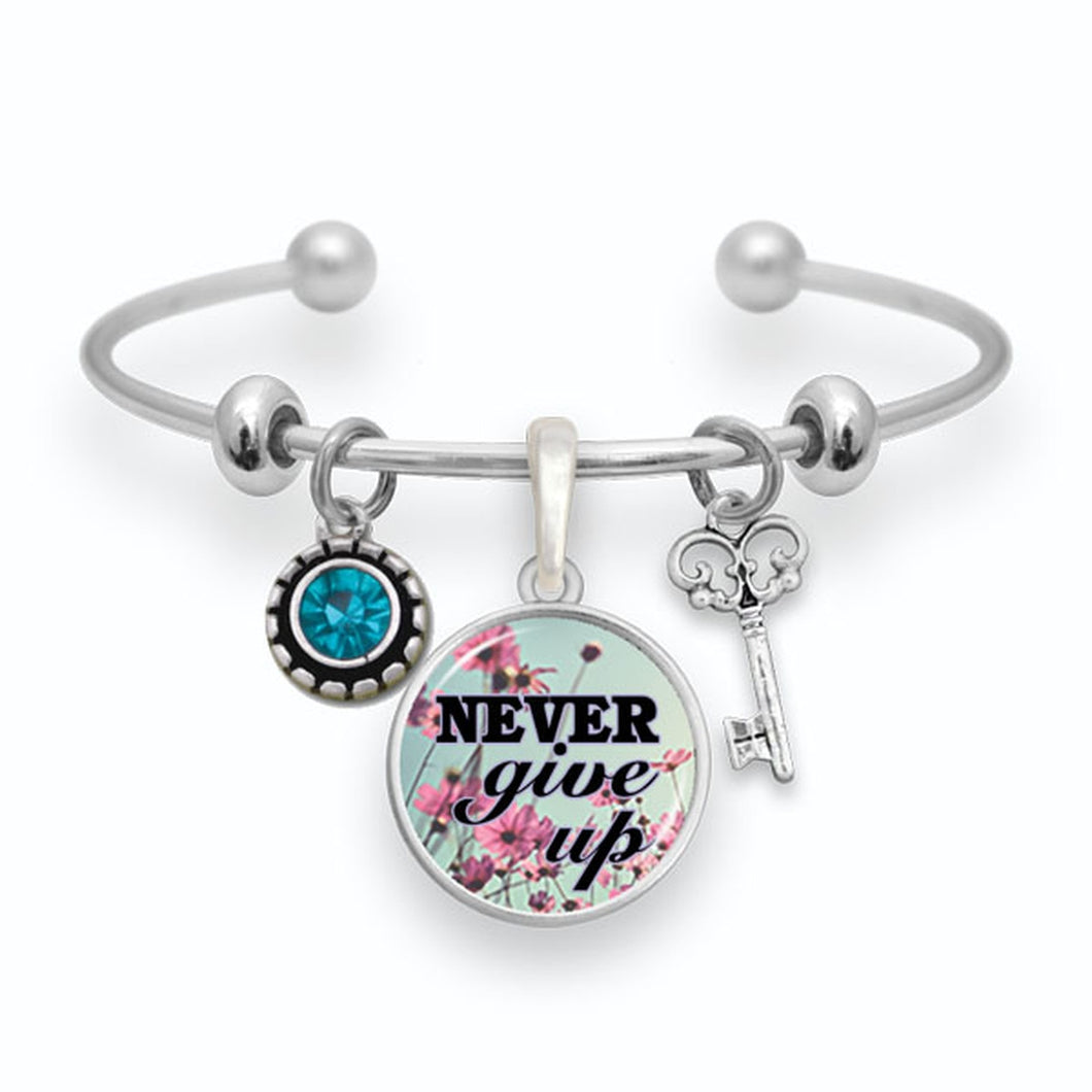 Never Give Up Cuff Bangle Bracelet