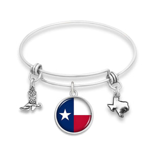 Texas State Pride ''State Pride Wire Bangle Flag'' Bracelet