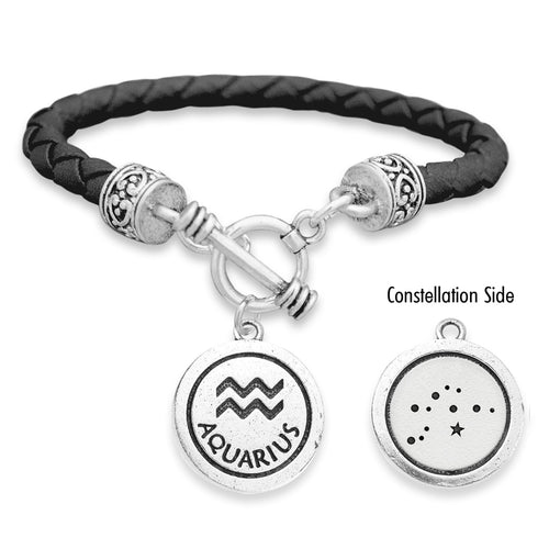 Aquarius Zodiac Constellation Leather Bracelet