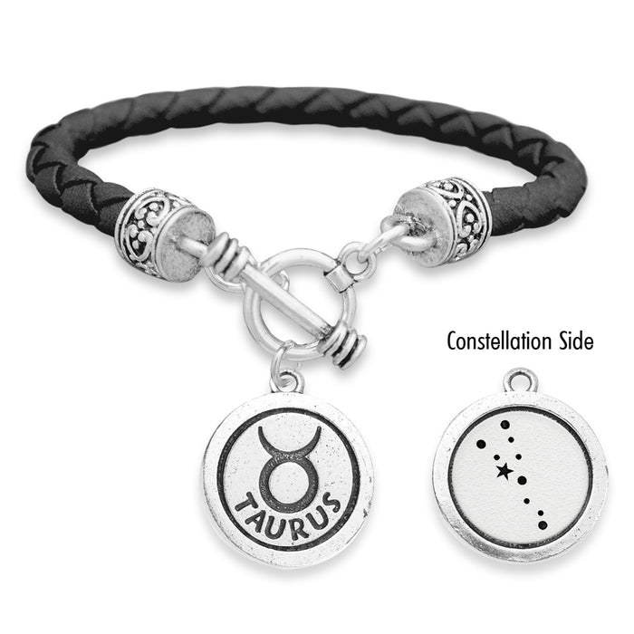 Taurus Zodiac Constellation Leather Bracelet